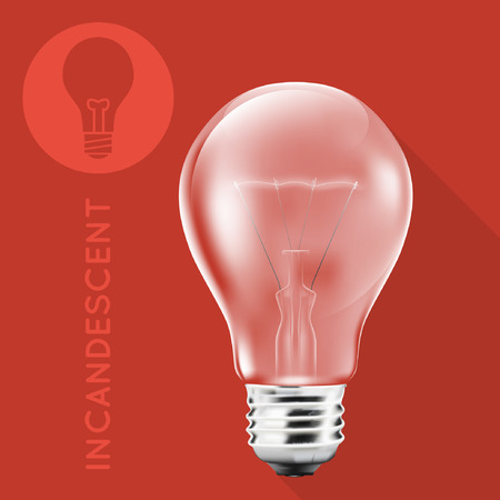 incandescent: Incandescent Light Bulb On Flat Red Background