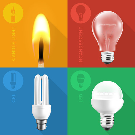 energysaving: Light Bulb Collection and Candle Light on Flat Colors Illustration