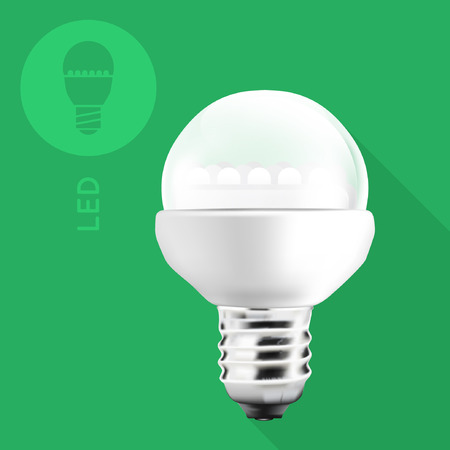 LED Light Bulb On Flat Green Background