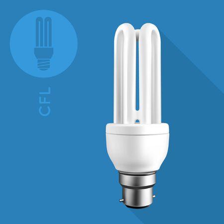 energysaving: Compact Fluorescent Light Bulb On Flat Blue Background Illustration