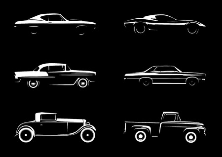 sports cars: Classic Style Vehicle Silhouette Collection