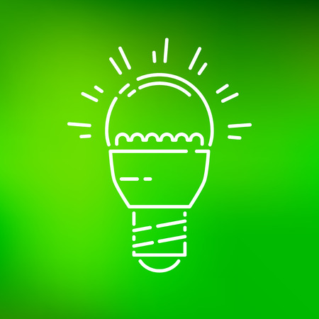 thin bulb: Low energy consumption LED light bulb icon. Eco friendly efficient light bulb sign. Save energy light bulb symbol. Thin line icon on green background. Vector illustration.