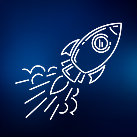 explore: Conceptual rocket flying icon. Space Rocket flying sign. Rocket flying symbol. Thin line icon on blue background. Vector illustration of rocket flying.