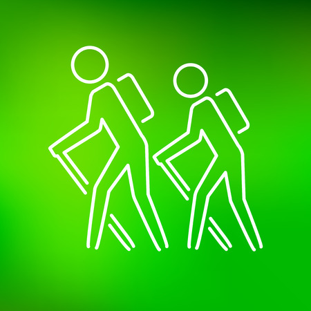 Hiking icon. Hiking trail sign. Hikers symbol. Thin line icon on green background. Vector illustration. Illustration