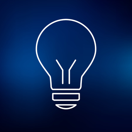Halogen lightbulb icon. Lightbulb sign. Lightbulb symbol. Thin line icon on blue background. Vector illustration.