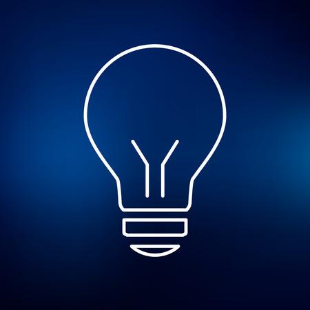 halogen: Halogen lightbulb icon. Lightbulb sign. Lightbulb symbol. Thin line icon on blue background. Vector illustration.