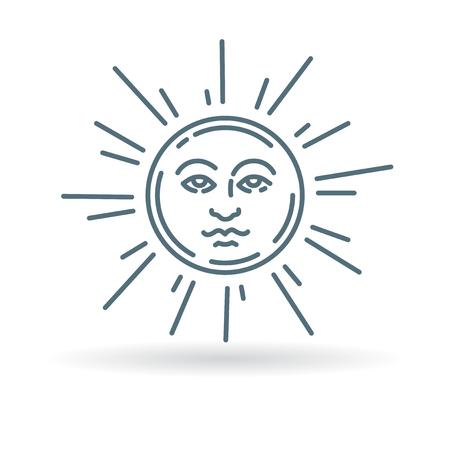 newage: Sun face icon. Sun face sign. Sun face symbol. Thin line icon on white background. Vector illustration.