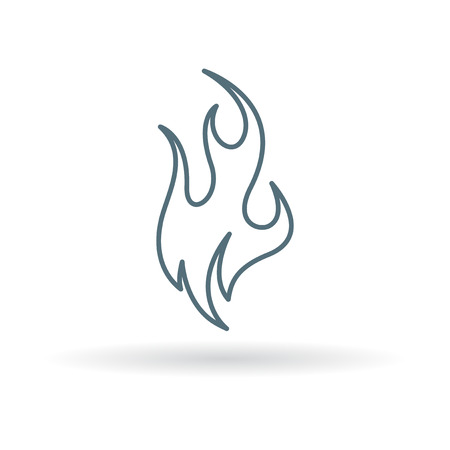 fire symbol: Fire icon. burn sign. Flame symbol. Thin line icon on white background. Vector illustration. Illustration
