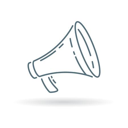 urgent announcement: Loudspeaker icon. Megaphone sign. Loudspeaker symbol. Thin line icon on white background. Vector illustration.