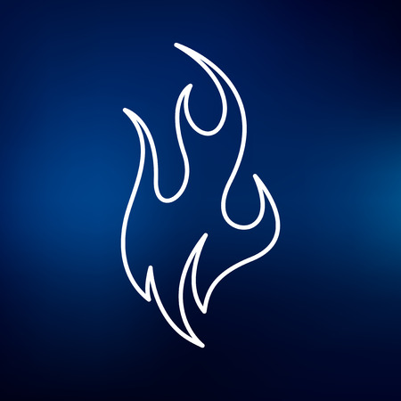 fire symbol: Fire icon. Fire sign. Flame symbol. Thin line icon on blue background. Vector illustration. Illustration