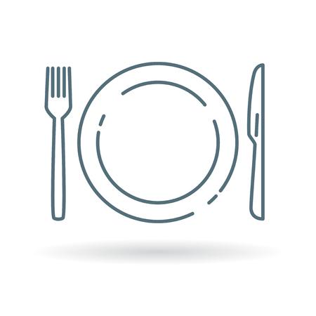 cuchillo: Utensilios para comer - plato, cuchillo y tenedor. Icono Cubiertos y signo de vajilla. Cubiertos símbolo. Icono de línea fina en el fondo blanco. Ilustración del vector.