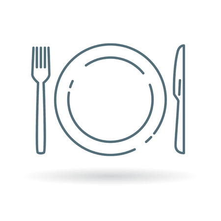 Eating utensils - plate, knife and fork icon. Cutlery and crockery sign. Eating utensils symbol. Thin line icon on white background. Vector illustration.
