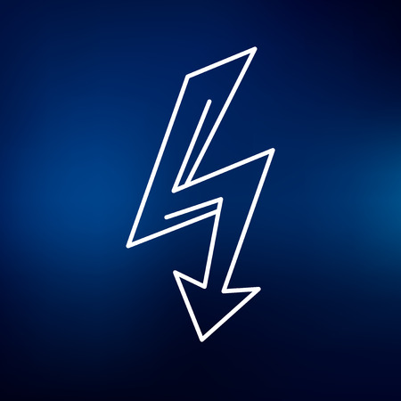 electric line: Electric thunderbolt arrow icon. Electric flash arrow sign. Electric strike arrow symbol. Thin line icon on blue background. Vector illustration.