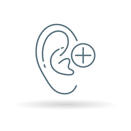 hearing aid: Ear hearing aid icon. Ear hearing volume sign. Ear hearing plus symbol. Thin line icon on white background. Vector illustration. Illustration
