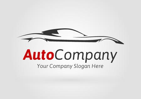 Moderno Logo Auto Vehicle Company Design Concept con coche de deportes de la silueta. Ilustración del vector.