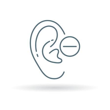 mute: Deaf ear icon. Mute ear sign. Low hearing ear symbol. Thin line icon on white background. Vector illustration. Illustration