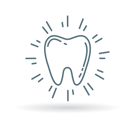 fairy vector: Healthy glowing tooth icon. Healthy sparkling clean tooth sign. Healthy white tooth symbol. Thin line icon on white background. Vector illustration.