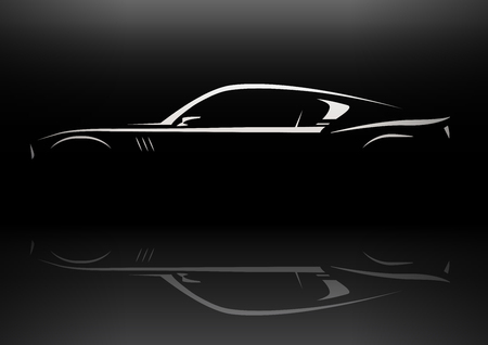 Conceptual muscle car silhouette vector design with vehicle reflection