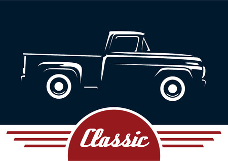 Classic Style Vintage American Pickup Vehicle. Silhouette Design. Illustration