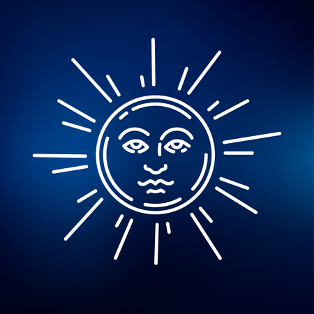 newage: Sun face icon. Sun face sign. Sun face symbol. Thin line icon on blue background. Vector illustration.