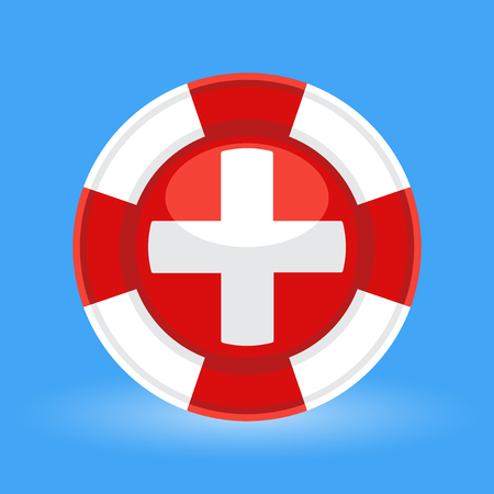 preserver: Lifebuoy  life preserver with medical cross icon logo concept on blue background. Vector illustration.