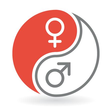 simbolo uomo donna: Yin Yang concetto Icone - L'uomo e simboli di genere della donna. Illustrazione vettoriale.