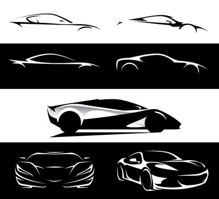 Conceptual supercar vehicle silhouette vector design collection