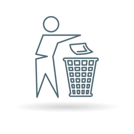 basura: Desechar el icono de la papelera. Bote la señal de basura. reciclar símbolo de la papelera. icono de línea fina en el fondo blanco. Ilustración del vector.