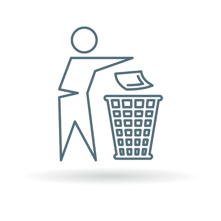 Dispose trash icon. Throw away trash sign. recycle trash symbol. Thin line icon on white background. Vector illustration. Çizim
