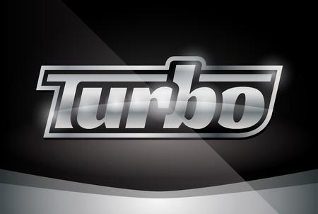turbo: Chrome Vehicle Turbo Badge on Stylish Black Background - Vector Design