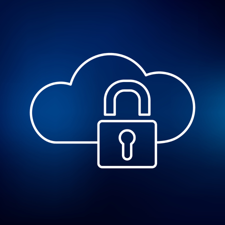 cloud security: Secure cloud network icon. Secure cloud network sign. Secure cloud network symbol. Thin line icon on blue background. Vector illustration.