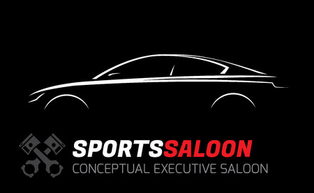 saloon: Modern Executive Sports Saloon Vehicle Silhouette Concept Car Design Illustration