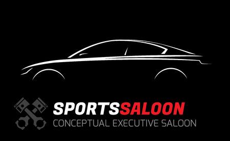 Moderne Executive Sports Saloon Vehicle Silhouette Concept Car Design Stock Illustratie