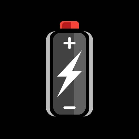 charge: Black battery charge icon. battery charge sign. battery charge symbol. Battery on black background. Vector illustration.