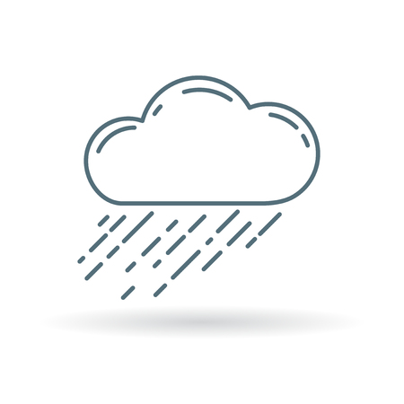 downpour: Cloud rain icon. Cloud rain sign. Cloud rain symbol. Thin line icon on white background. Vector illustration.