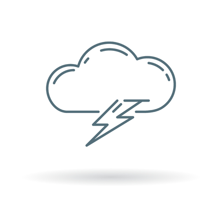 bolt: Cloud lightning bolt icon. Cloud lightning strike sign. Cloud lightning flash symbol. Thin line icon on white background. Vector illustration.