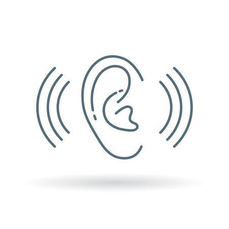耳聴覚サウンド アイコン。耳聴覚ボリューム記号。耳補聴器のシンボル。白い背景の上の細い線のアイコン。ベクトルの図。