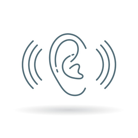 oido: audición del oído icono de sonido. Oreja Signos de volumen de escucha. audición del oído auxilios símbolo. icono de línea fina en el fondo blanco. Ilustración del vector. Vectores