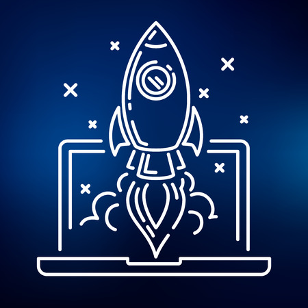 rocket: Conceptual rocket launch icon. Rocket launch sign. Rocket launch symbol. Thin line icon on blue background. Vector illustration of rocket launching up to space from a laptop. Illustration