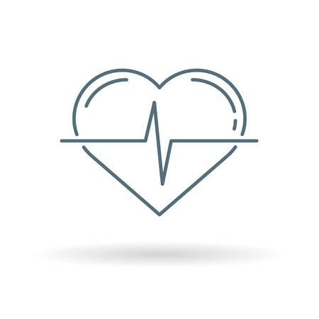 heartbeat line: Conceptual heartbeat icon. Conceptual heartbeat sign. Conceptual heartbeat symbol. Thin line icon on white background. Vector illustration. Illustration