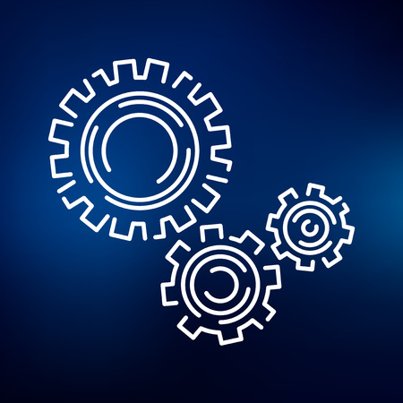 Gears and cogs icon. Gears sign. Gears symbol. Thin line icon on blue background. Vector illustration.