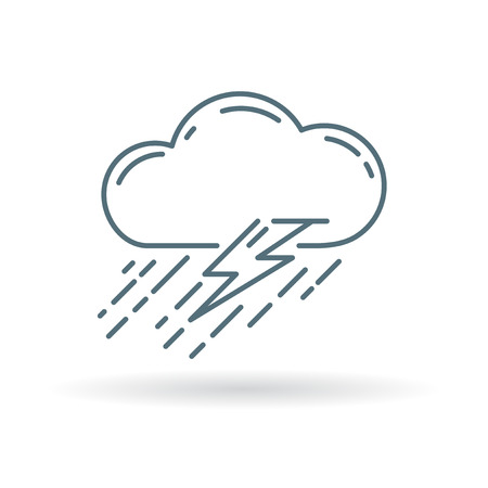 torrential rain: Cloud with rain and lightning thunderstorm icon. Cloud thunderstorm sign. Cloud thunderstorm symbol. Thin line icon on white background. Vector illustration.