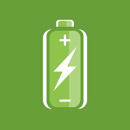 charge: Green battery charge icon. battery charge sign. battery charge symbol. Battery on green background. Vector illustration.