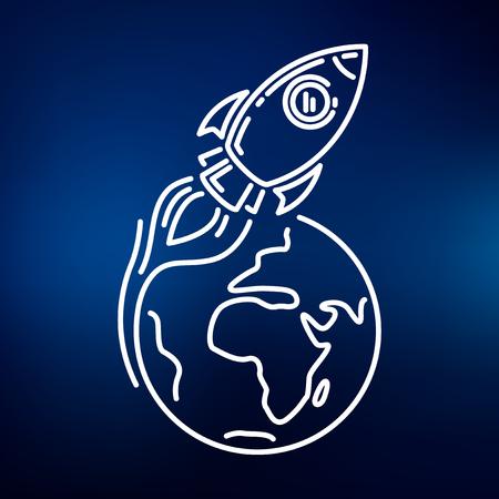 cohetes: Conceptual cohete icono de la órbita terrestre. Rocket signo de la órbita terrestre. Rocket símbolo de la órbita terrestre. icono de línea fina en el fondo azul. Ilustración del vector del cohete en órbita terrestre. Vectores