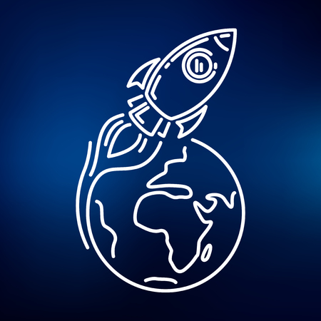 Conceptual rocket orbit earth icon. Rocket orbit earth sign. Rocket orbit earth symbol. Thin line icon on blue background. Vector illustration of rocket orbiting earth.