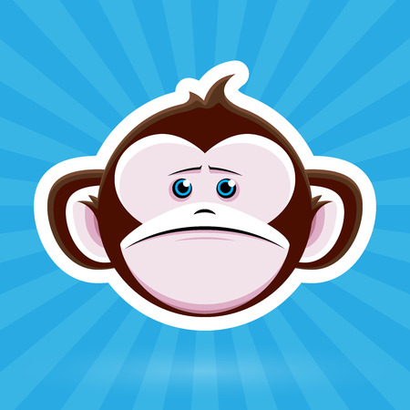 tearful: Cartoon Monkey Face with Sad Expression on Blue Background - Vector Design