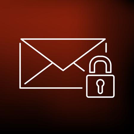correo electronico: Secure icono de correo electrónico SSL. Secure signo de correo electrónico SSL. Secure símbolo de correo electrónico SSL. Icono de línea fina en el fondo rojo. Ilustración del vector. Vectores
