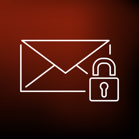 emails: Secure SSL email icon. Secure SSL email sign. Secure SSL email symbol. Thin line icon on red background. Vector illustration. Illustration
