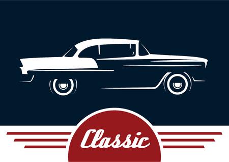 古典的な車 - ヴィンテージ車シルエット デザイン。ベクトルの図。  イラスト・ベクター素材