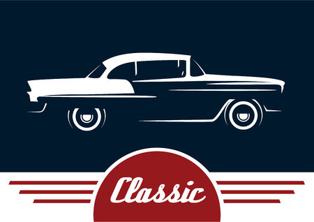 Classic Vehicle - Vintage Car Silhouette Design. Vector illustratie.